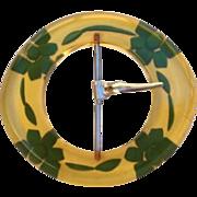 Substantial Vintage Reversed Carved and Painted Flower Bakelite Belt Buckle