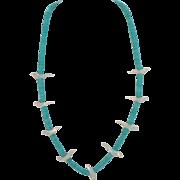 Vintage Bird Fetish and Turquoise Heishi Bead Necklace