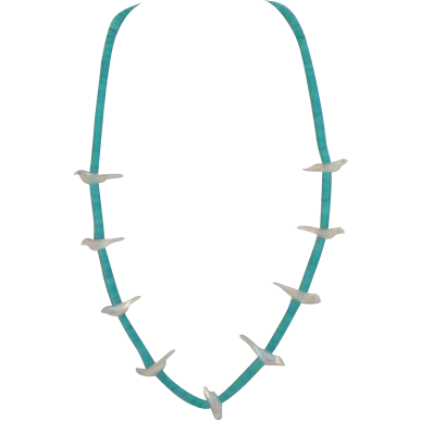 Vintage Bird Fetish and Turquoise Heishi Bead Necklace