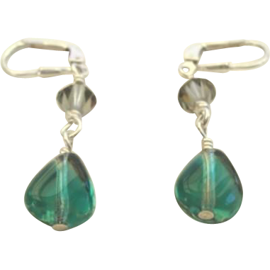Pierced Hand Blown Glass & Crystal Dangling Earrings Sterling Silver