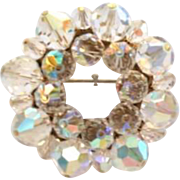 Vintage Aurora Borealis Crystal Brooch Pin AB