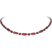 Vintage Holiday Red Rhinestone Choker Necklace