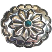 Vintage Native American Brooch Pin Raised Repousse Flower Turquoise Sterling