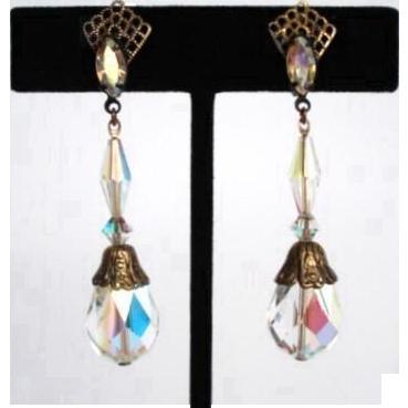 Vintage Lewis Segal Earrings Antique Filigree Fan Rhinestones Crystals