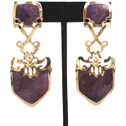 """Edgar Berebi Pierced Purple & Gold 3"""" Dangle Earrings Tags Still On"""