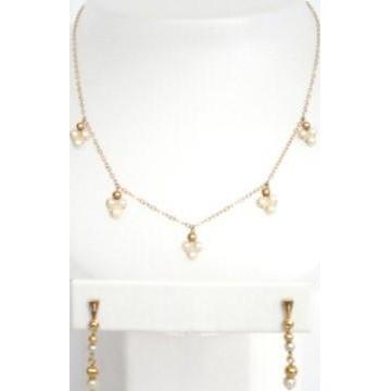 Exquisite Vintage 14KT Gold Pearl Set Pierced Earrings Necklace