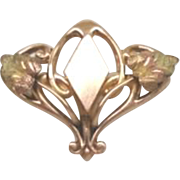 Exquisite Antique Art Nouveau 10KT Gold Brooch Pendant G.F.