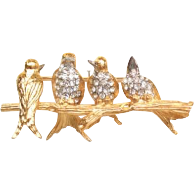 Vintage Joan Rivers Chatterbox Bird Party Brooch Pin