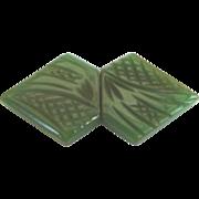 Vintage Art Deco Deeply Carved Bakelite Belt Buckle Florals Checkerboard Design