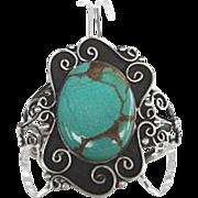 Stunning Vintage Native American Turquoise Bracelet Sterling Silver Ornate Floral Design Signed