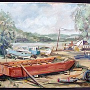 Interesting Mid 20th Century Regionalist Style Boatyard Scene, Illegible Signature