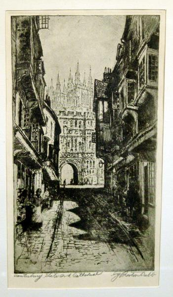 "19th Century English Etching ""Canterbury Gate and Cathedral"" by British Etcher Preston Cribb (1867-1937)"