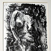 1970 Erotic Nude Figure Study, Pencil Signed Lithograph
