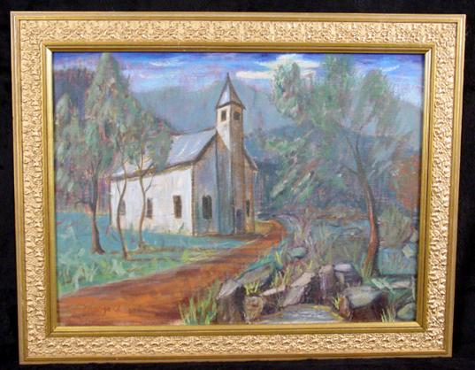 "Mid 20th Century Regionalist Oil ""Smokey Mountain Church"" Signed Mergard"