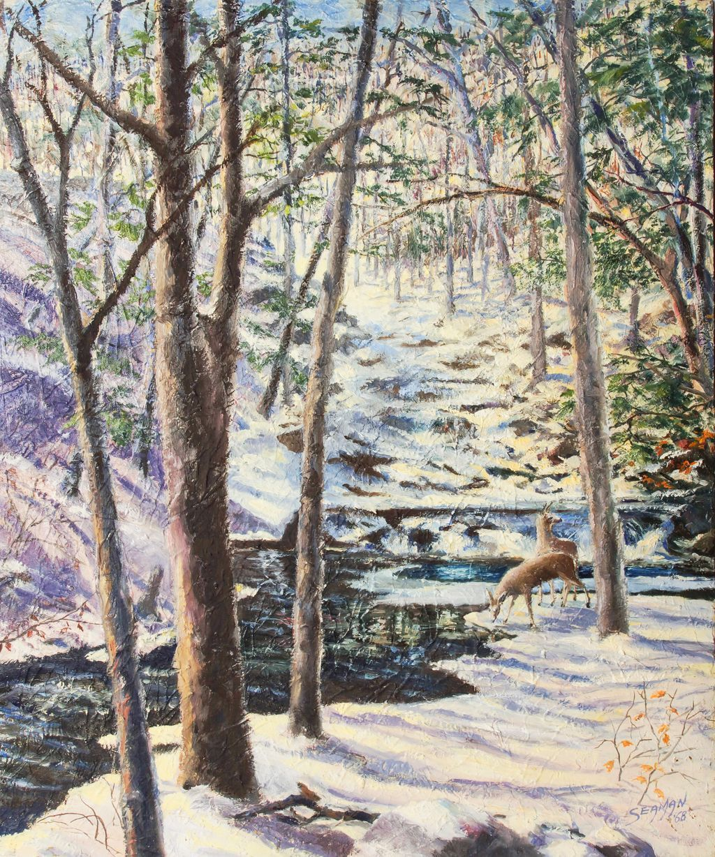 Mid Century Oil, Forest Winter Scene, Signed Seaman
