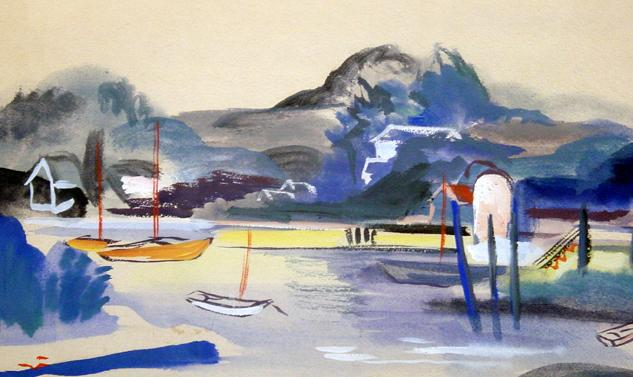 Early to Mid 20th Century American Fauvist Landscape with Water and Sailboats, Artist Unknown