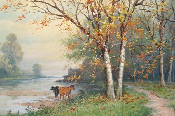 Fine 1913 Painting of Two Cows Near a Forest Path Along A River, Signed M. T. de La Rue