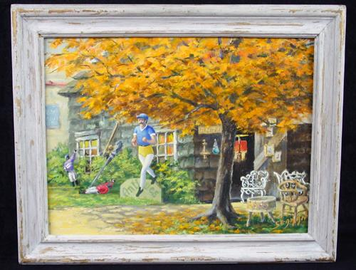 Bizarre Mid 20th Century Oil on Board, Figures in Front of an Antiques Shop, Signed Seaman