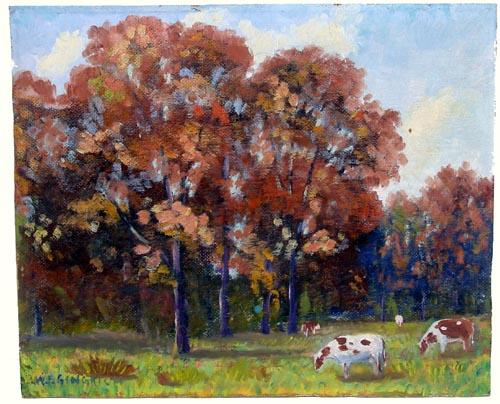 Early 20th Century Illinois Impressionist Painting on Board of Cows in a Landscape by Listed Artist W. F. Gingrich