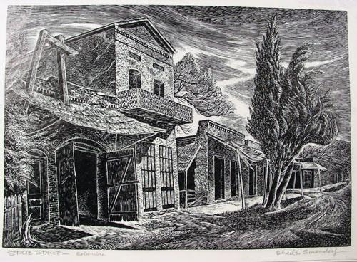 Fine Early 20th Century Woodblock of State Street, Columbia, CA Gold Rush Town by Listed WPA Artist Charles Surendorf