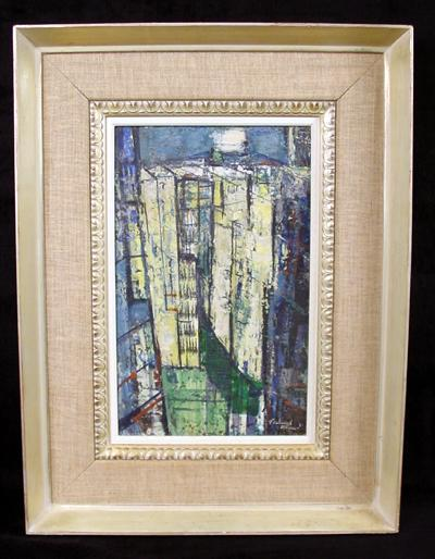 1951 Abstract Buildings/Urban Landscape by listed American Artist Ferdinand E. Warren (1899-1981)