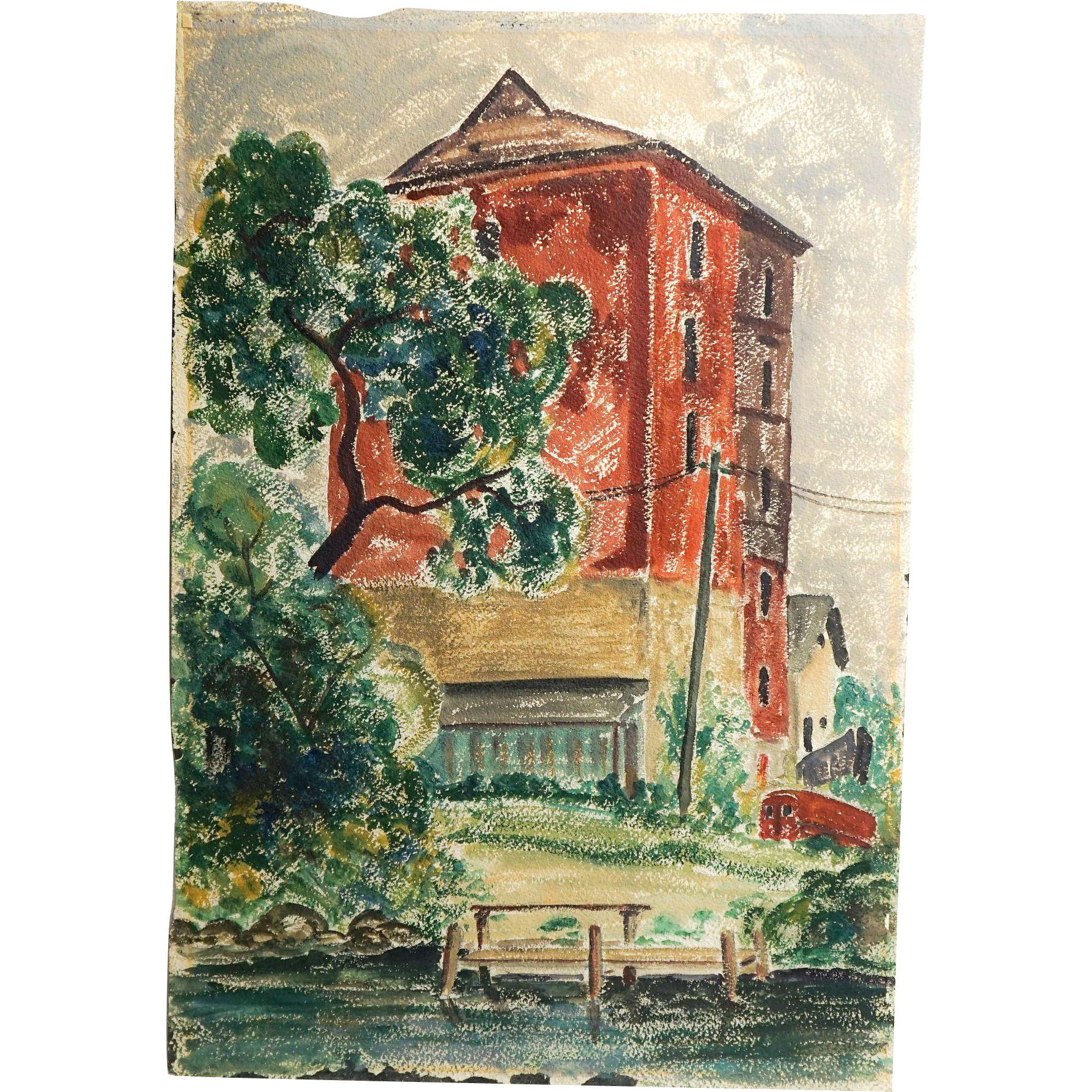 Fine Early 20th Century WPA / Modernist Style Watercolor of an Urban Scene by an Anonymous Artist