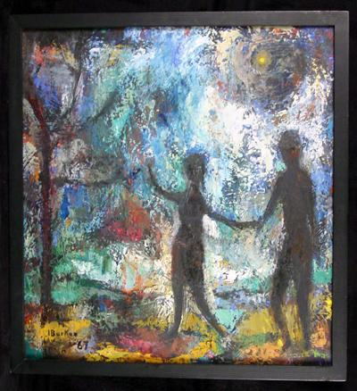 1967 Figural Modernist Oil on Canvas by Noted Aspen, CO,  Artist Irvin S. Burkee
