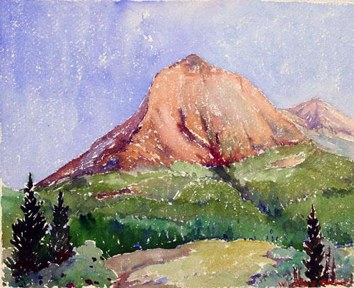 Mid 20th Century American Watercolor of a Mountain Signed Indistinctly