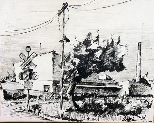 Early 20th Century WPA Era Drawing Rural Railroad Stop by Listed Illinois Artist Laura Thompson