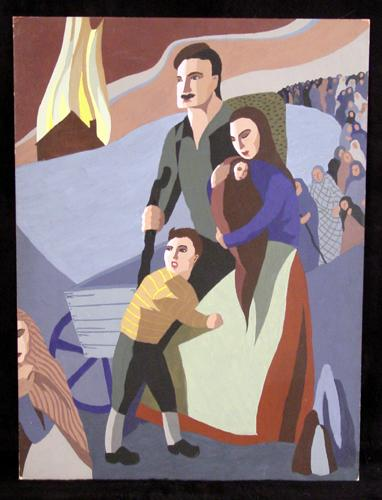 Mid to Late 20th Century Holocaust/Tragedy Painting, Very Emotional.  Signed
