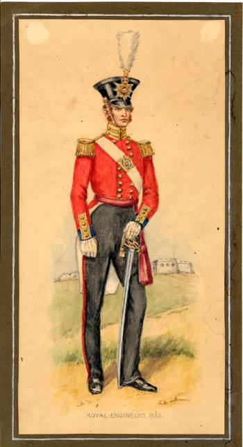 Antique 1832 British Royal Engineer, Original Painting, Military Uniform