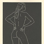 Vintage Original Print of a Nude Study by California WPA Artist Edward Hagedorn