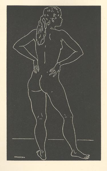 Vintage Original Print of a Nude Study by California WPA Artist Edward Hagedorn