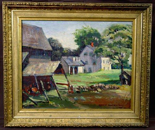 Fine American Impressionist Painting, Oil on Canvas, Rural Barn, Kenneth Clark Pillsbury 1940, Antique Gold Gilded Frame