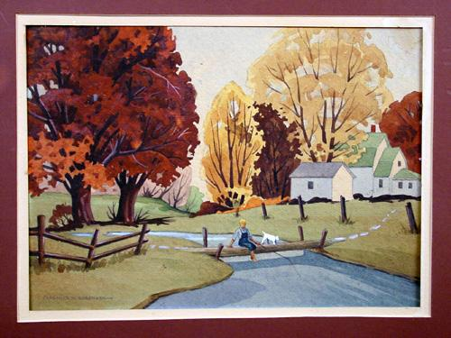 Original 1930's Illustration Style Painting, Boy With Dog Fishing, Signed Clarence W. Sorenson