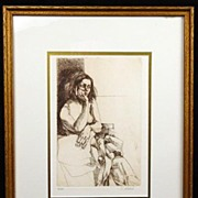 Mid 20th Century Semi-Nude Etching by Celebrated American Figure Artist Sigmund Abeles