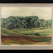 "Stunning 1952 Modernist Landscape Signed With Initials ""ANM"""