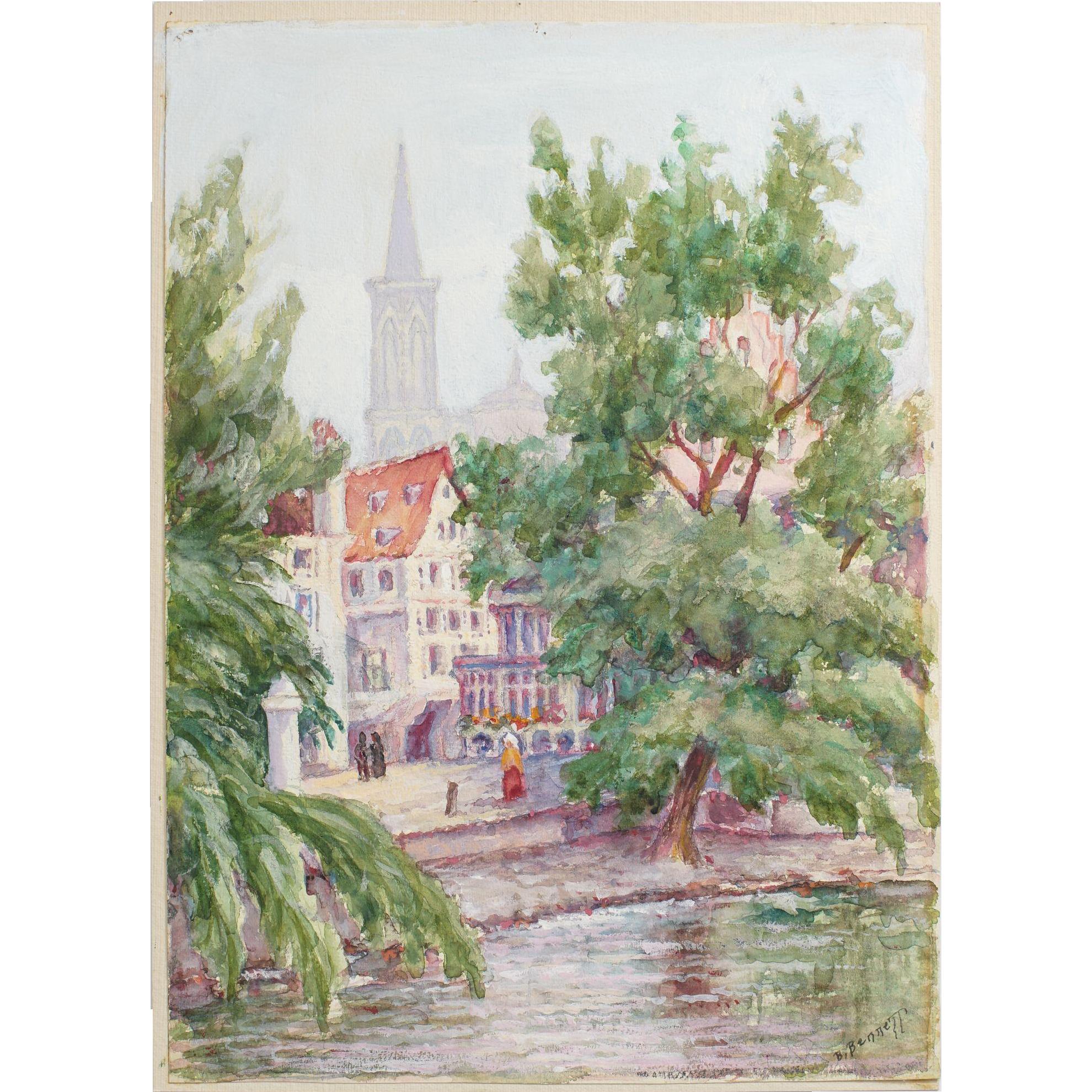 Original Painting Notre Dame Strasbourg, Signed B. Bennett