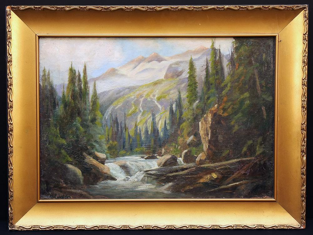 Selkirk Mountain Landscape by Wisconsin Artist Franz Biberstein