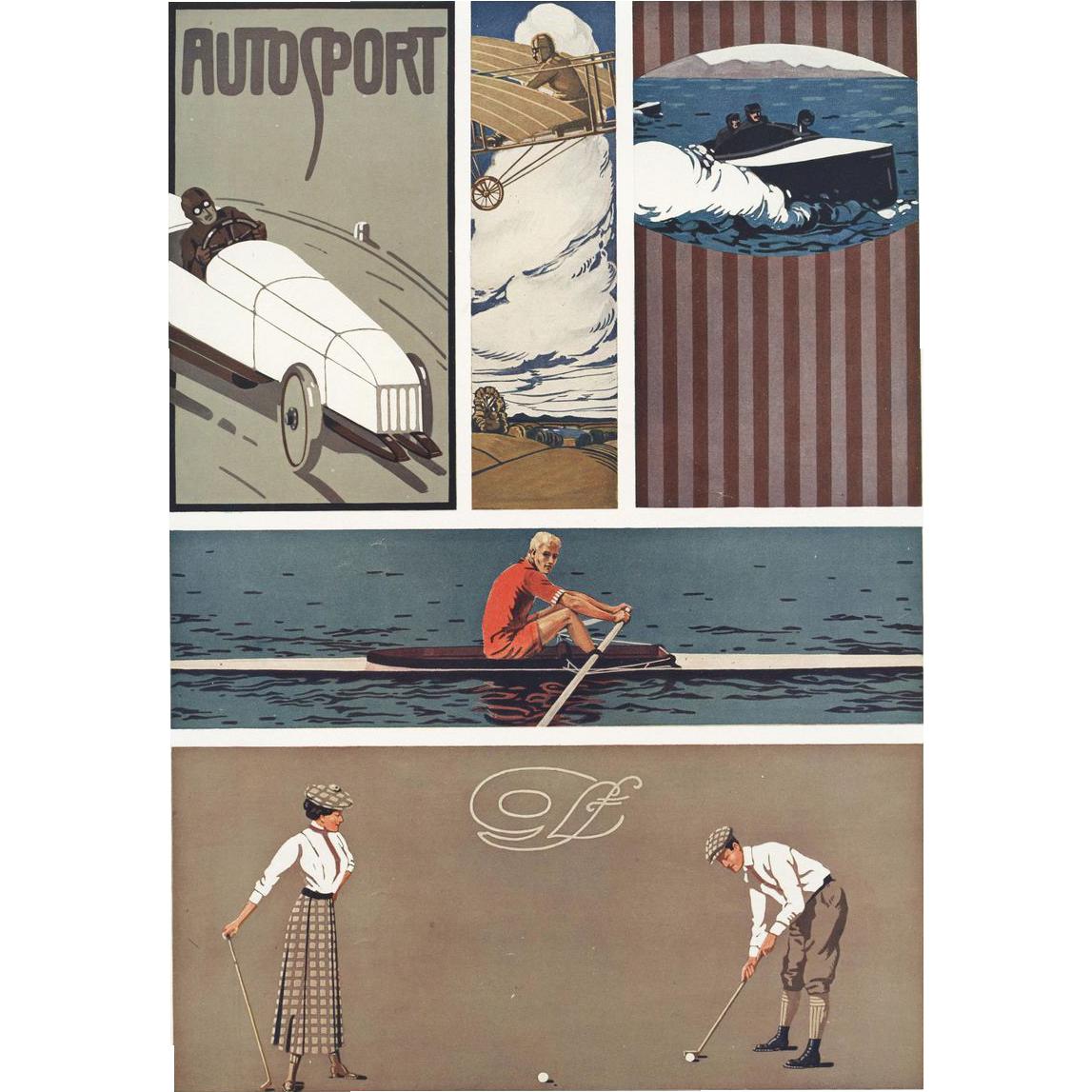 Art Deco / Nouveau Sports Graphic / Lithograph K. Biebrach ...