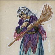 Original 1958 Illustration Painting of a Witch by Mahlon Blaine