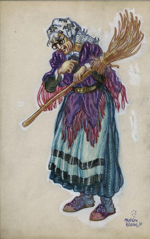 Original 1958 Illustration Painting Of A Witch By Mahlon