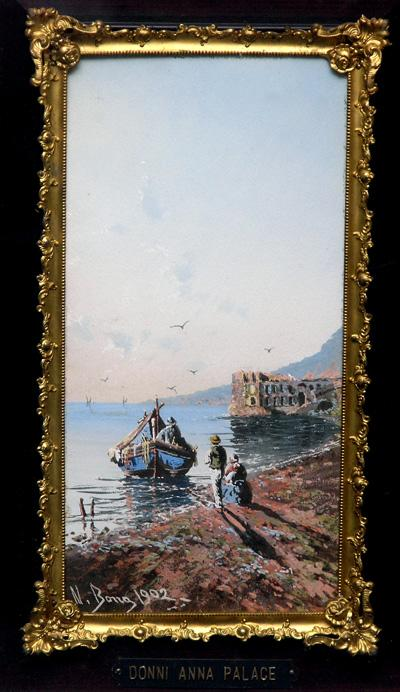 "Original 1902 Painting, ""Donni Anna Palace"", Coastal Scene"