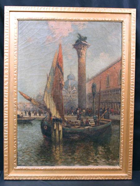 Fine Venetian Scene Oil on Canvas by Listed MA Artist Nicholas Briganti