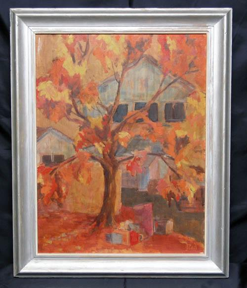 Fine Regionalist Oil on Board, Autumn Trees and Barn, Signed Indistinctly