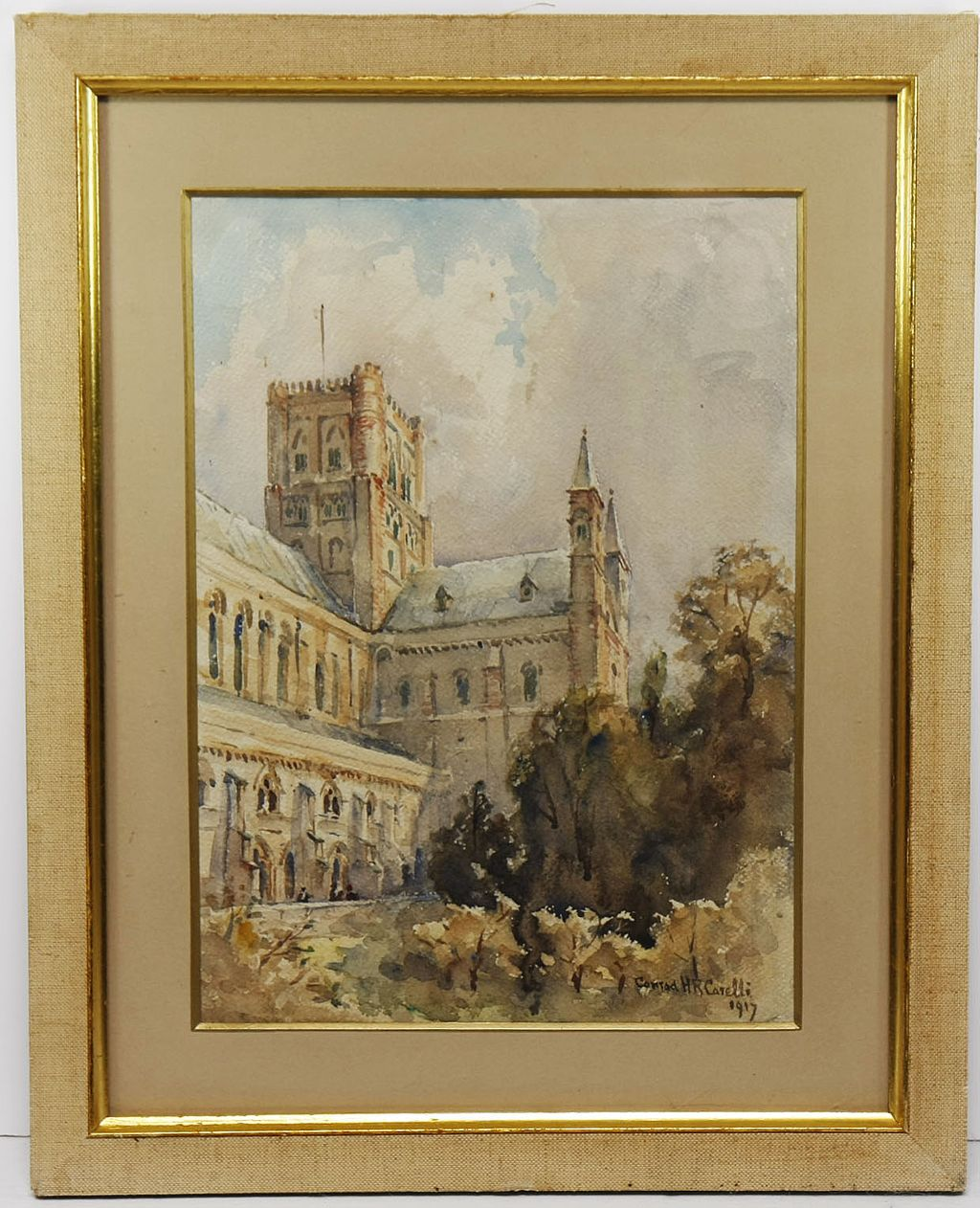 St. Albans Cathedral, 1917, Original Watercolor by Conrad H. R. Carelli