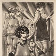 Vintage 1920's Original Erotic Scene by Leon Courbouleix, Nude Figures