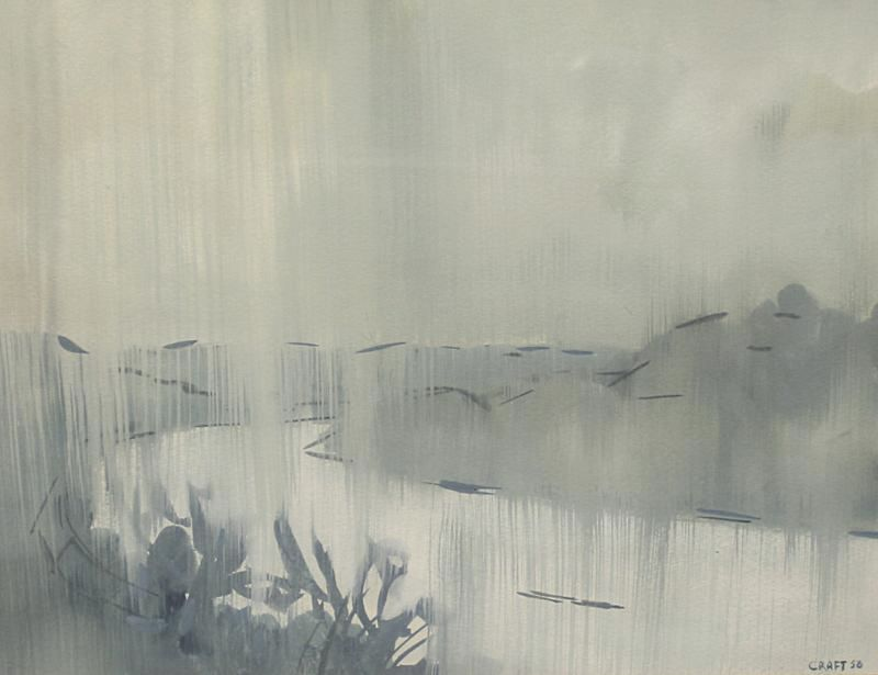 Abstract Modern Painting of a Rain Shower on the Ohio River 1956 by Listed Artist Paul Craft