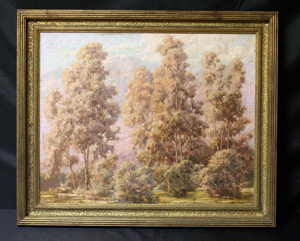 Fine California Landscape With Eucalyptus Trees and Mountains, Signed Currier, Listed American Artist