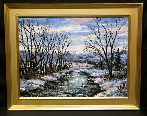 "Stunning Oil on Board by PA Artist Clarence I Dreisbach, ""Willows in Winter"""